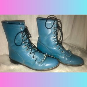 Vintage Turquoise Blue Leather Lace Up Boots